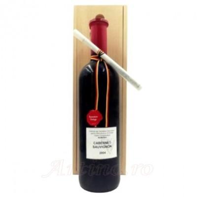 Vin colectie Cabernet Sauvignon 2004, Valea Calugareasca + Cutie Lemn