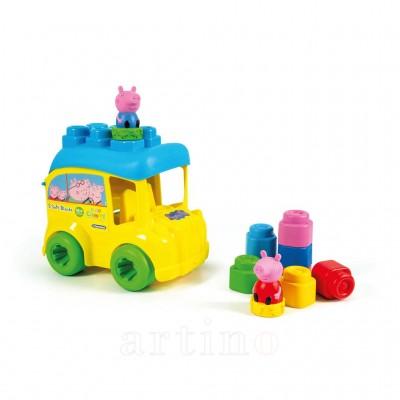 Set cuburi Soft Clemmy, autobuz Peppa cu cuburi