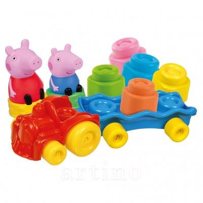 Set cuburi Soft Clemmy, tren cu cuburi Peppa