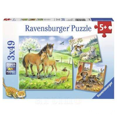 Puzzle Animale si Pui, 3X49 Piese, Ravensburger