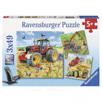 Puzzle Masinarii, 3X49 Piese, Ravensburger