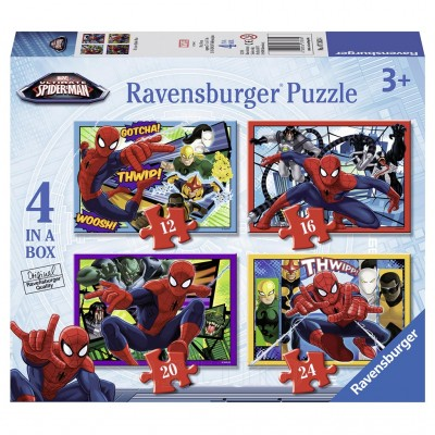 Puzzle Spiderman, 4 Buc in Cutie, 12/16/20/24 Piese, Ravensburger
