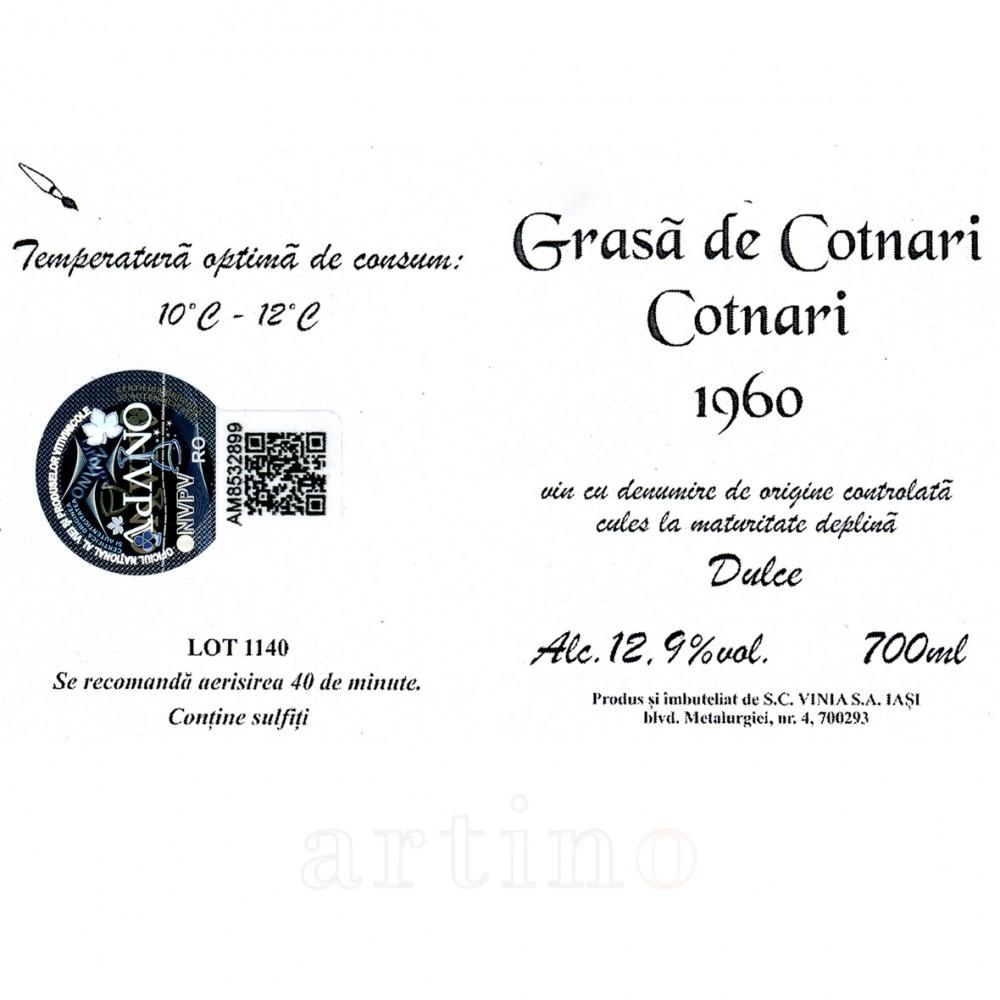 Vin colectie 1960 Grasa de Cotnari certificat