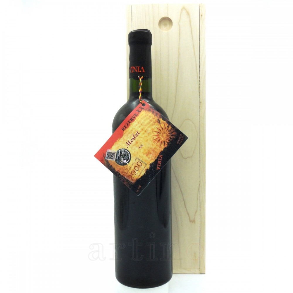 Vin colectie 2000 Merlot + cutie lemn
