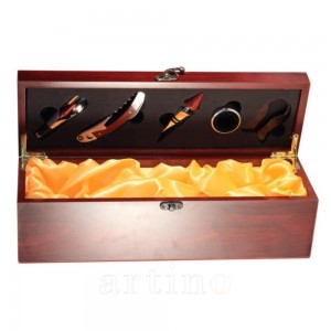 Cutie cadou 5 accesorii Burgundy - galben