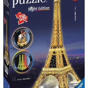 Puzzle 3D Turnul Eiffel Noaptea, 216 Piese , Ravensburger