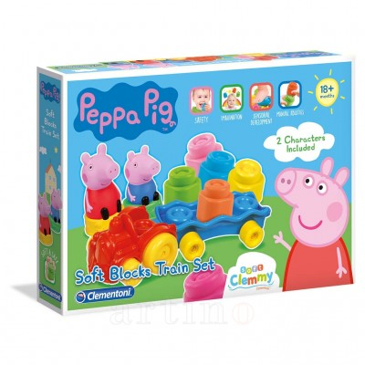 Set cuburi Soft Clemmy, tren Peppa, Clementoni