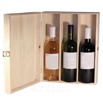 Cutie lemn 3 sticle Trio - mic