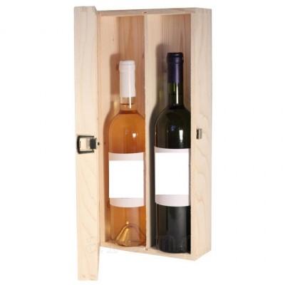 Cutie lemn dubla cu inchizatoare, 2 sticle - mic