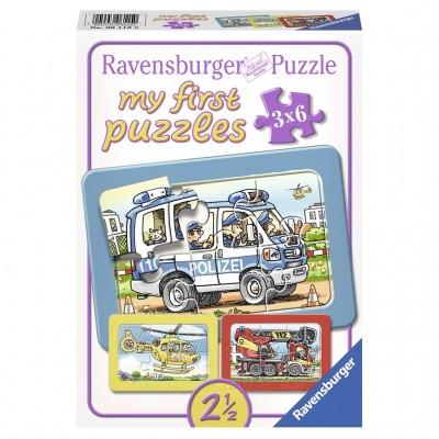 Puzzle Politie, Pompieri, 3X6 Piese, Ravensburger - mic
