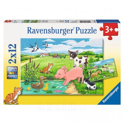 Puzzle Animale La Ferma, 2X12 Piese, Ravensburger