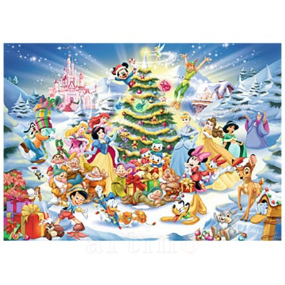Puzzle Craciunul in Familia Disney, 1000 Piese, Ravensburger