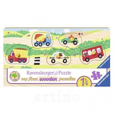 Puzzle din lemn cu vehicule, 5 Piese, Ravensburger - mic