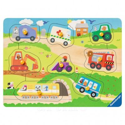 Puzzle din lemn cu vehicule, 8 Piese, Ravensburger
