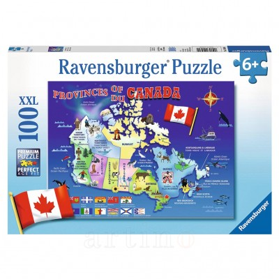 Puzzle Harta Canadei, 100 Piese, Ravensburger