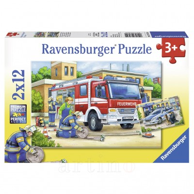 Puzzle Politie si Pompieri, 2X12 Piese, Ravensburger - mic