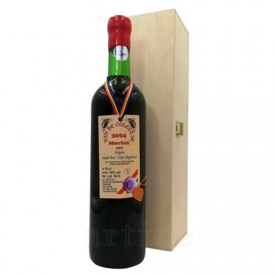 Vin colectie Merlot 2004, Valea Calugareasca + cutie lemn